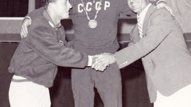 L-R: Isaac Berger who won silver, Yevgeny Minayev, the gold medalist, and Sebastiano Mannironi with bronze, at the 1960 Olympics in Rome