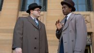 Josh Gad, left, and Chadwick Boseman