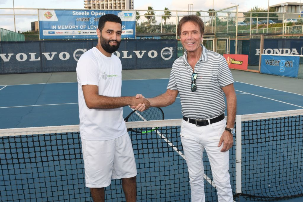 Coach Mohammed Rashwan with Sir Cliff Richard