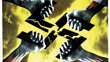 The anti-Nazi poster Four Hands by FHK Henrion was distributed across Europe after the fall of the Third Reich