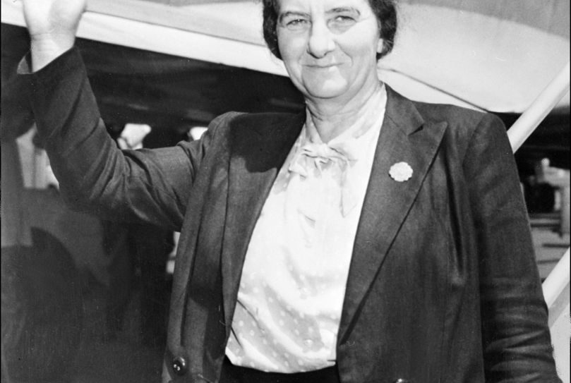The Israeli deputy Foreign minister Golda Meir waves to the press, 26 May 1948 upon her landing at New York airport prior to attend the 'United Jewish appeal' conference. Golda Meir, born 03 May 1893 in Kiev (Ukraine) became in March 1969 Israeli Prime minister.