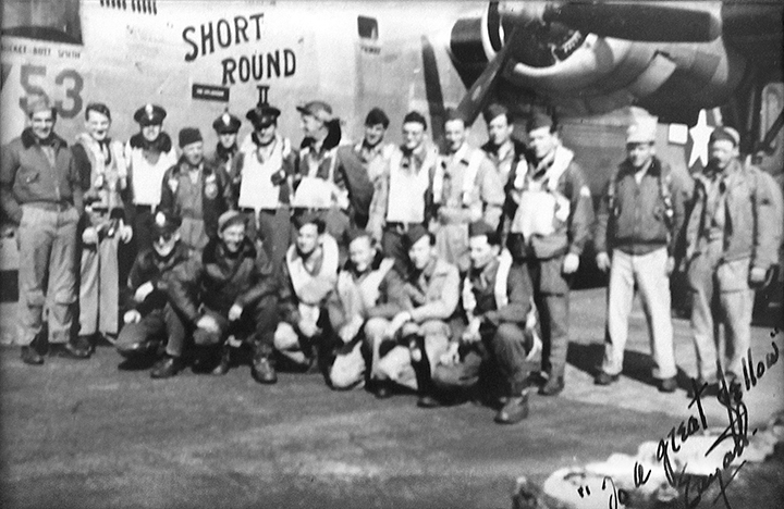 The team that stayed together for 33 bombing missions are at the center. Short Round was the pilot.