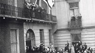 The flag of the Israeli Government, proclaiming the recognition of the government by Britain, was hoisted at the offices of the Israeli Government in Manchester Square, London