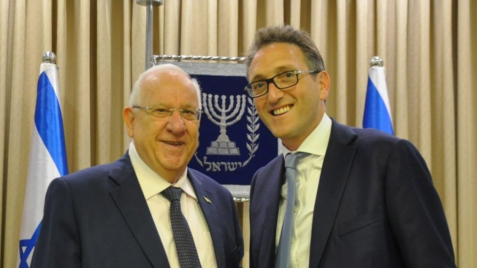 Jonathan Goldstein with Israeli President Reuven Rivlin in August this year