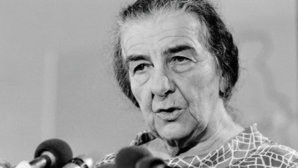 Israeli Prime Minister Golda Meir gives a press conference on October 15, 1973 during the Yom Kippur war. Getty Images