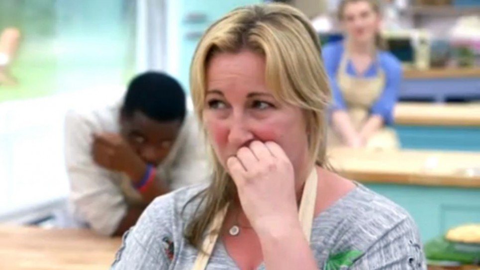 Stacey Hart bites her nails during a nervy week six
