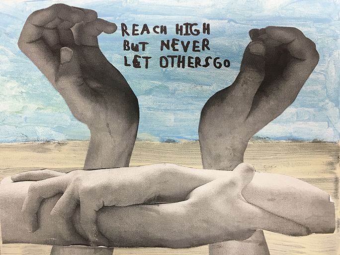 This piece of art, created by a Sinai Schools student, is part of a collage in Michael Maron's office. It expresses Holy Name's ethos perfectly, Mr. Maron said.