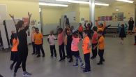 First graders learn Israeli dance
