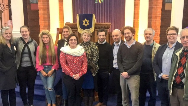 Representatives of Board of Deputies, Leeds GATE, Rene Cassin and Leeds Jewish Representative Council at United Hebrew Congregation, Leeds