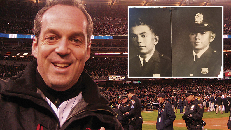 Paul Caine at the Yankees game where his curiosity was sparked by a policeman's badge; inset, two shots of his grandfather, Wolf Silberstein.
