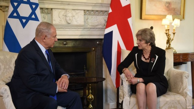 Prime Minister Theresa May with Israeli Prime Minister Benjamin Netanyahu at a meeting in 10 Downing St, London. P  Photo credit: Joe Giddens/PA Wire