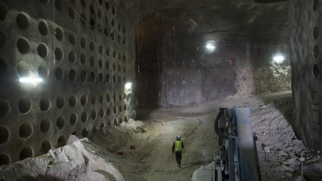 Worker walks at the construction site of a massive underground cemetery in Jerusalem.   (AP Photo/Oded Balilty)