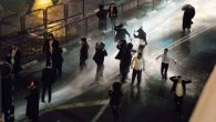 Charedi Jews being targeted with water cannons in Jerusalem during their protest