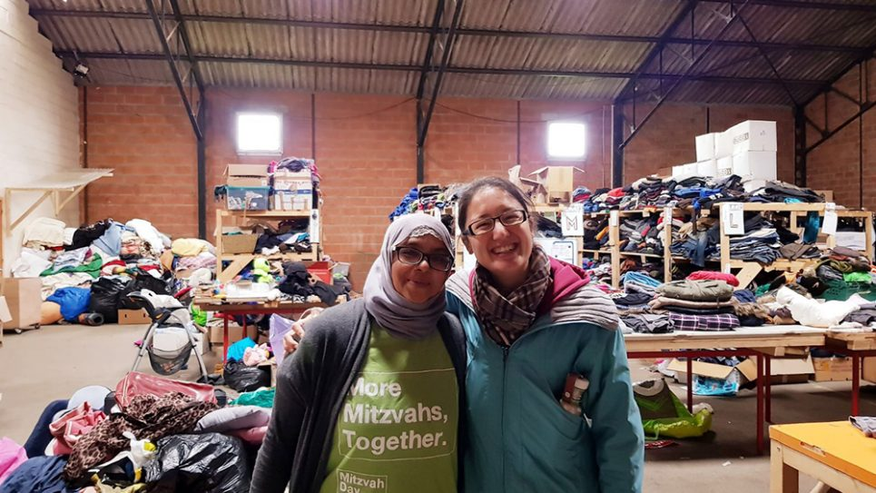 Calais - Onjali Rauf and Caroline Cottet with all the donations brought on Mitzvah Day