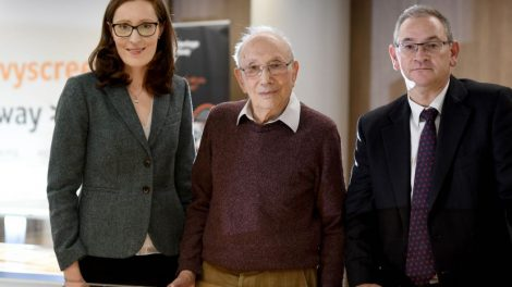 Centre Director Emma King, Holocaust survivor Heinz Skyte (centre) and Shulmans LLP Simon Jackson - small