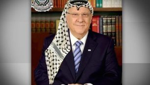 Right wing groups reportedly shared this image of President Rivlin wearing a Palestinian scarf.   Credit: @rafsanchez on Twitter