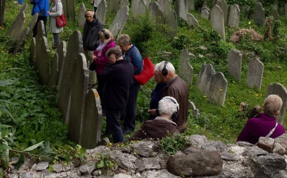 A group of visitors at Plymouths historic Jewish cemetery