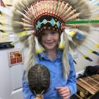 A student at  Keser Torah in Gateshead with a  tortoise shell