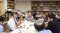 Rabbi Dov Linzer studying with students at Yeshivat Chovevei Torah, Courtesy of YCT