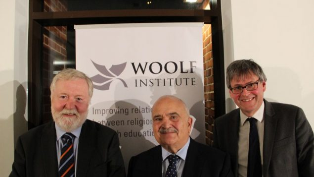 From left to right: Lord Ian Blair, HRH Prince Hassan, and Dr Ed Kessler at event