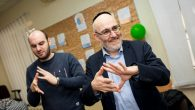 Rabbi Belovski and World Jewish Relief staff member Sam Schryer take part in activities at the Jewish Community Centre in Zaporizhia, Ukraine.