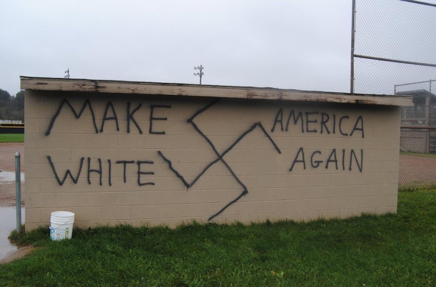 Nazi-themed graffiti was found in the town of Wellsville N.Y. the same day that Donald Trump won the presidential election Nov. 9 2016