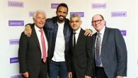 Simon Morris, far right, with, from left, Lord Levy, musician Craig David and London Mayor Sadiq Khan at Jewish Care's annual dinner