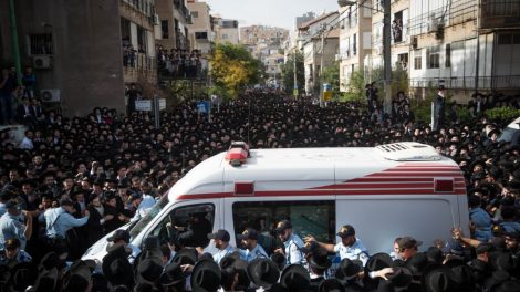 Thousands of followers of Rabbi Aharon Leib Shteinman attend his funeral in the Ultra Orthodox city of Bnei Brak, on December 12, 2017. Rabbi Aharon Leib Shteinman passed away earlier this morning at the age of 104. Photo by: JINIPIX