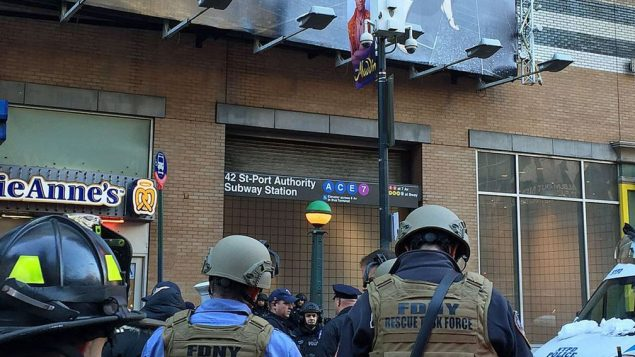 Photo issued by the New York City Fire Department of emergency services outside 42 St-Port Authority Subway Station in New York City, after an explosive device was set off on a New York subway platform, police said.  Photo credit: FDNY/PA Wire