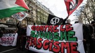 'Antifa' or 'anti-fascist' groups protest against Zionism in Paris.   Source: Action Antifasciste Paris-Banlieue on Facebook
