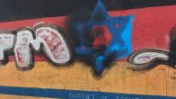 Graffiti on the Berlin Wall over a star of Davidm with the words 'existence is resistance '