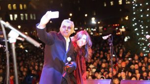 London Mayor Sadiq Khan takes a selfie at Chanukah in the Square