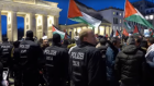 Police on patrol at an anti-Israel protest in Germany - in demonstrations that saw alleged anti-Semitic chanting