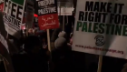 Screenshot of a video featuring the anti-Semitic protests
