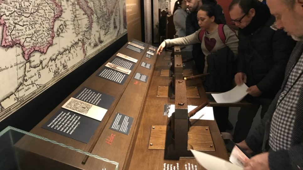 Self publishing on Medieval printing press, Poland Jewish Museum, photo by Harry D. Wall