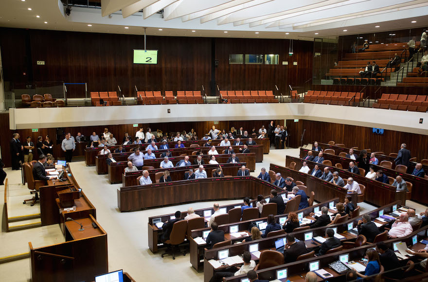 A view of the Israeli parliament in session. JTA