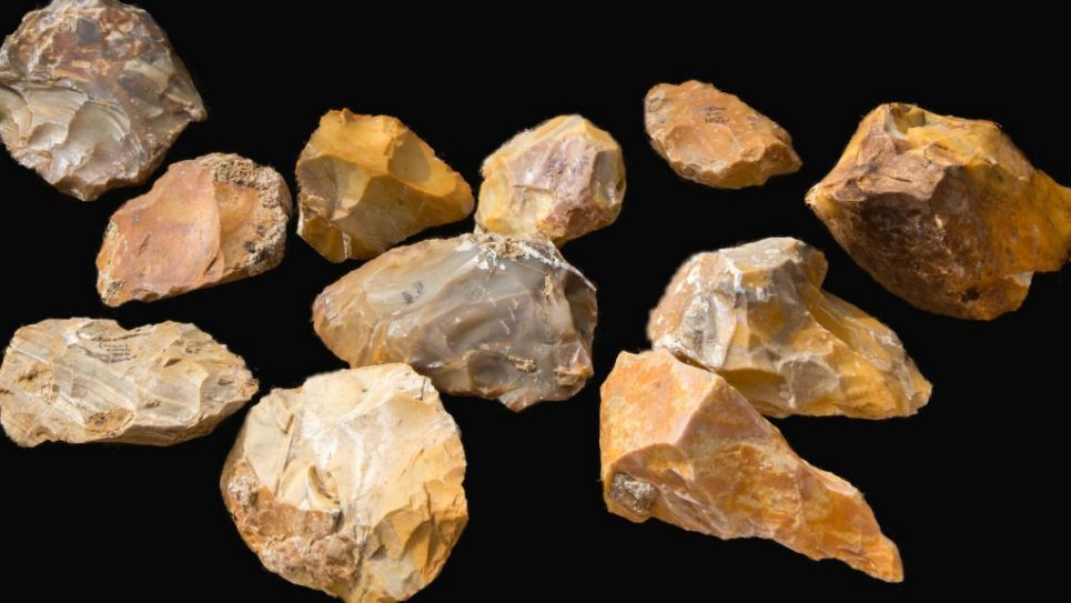 Hundreds of hand axes were uncovered in the excavation. Photographer : Samuel Magal, Courtesy of the Israel Antiquities Authority