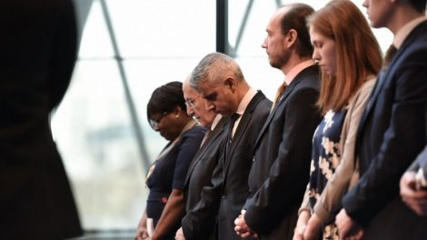 A minute silence at the Holocaust Memorial Day event at City Hall