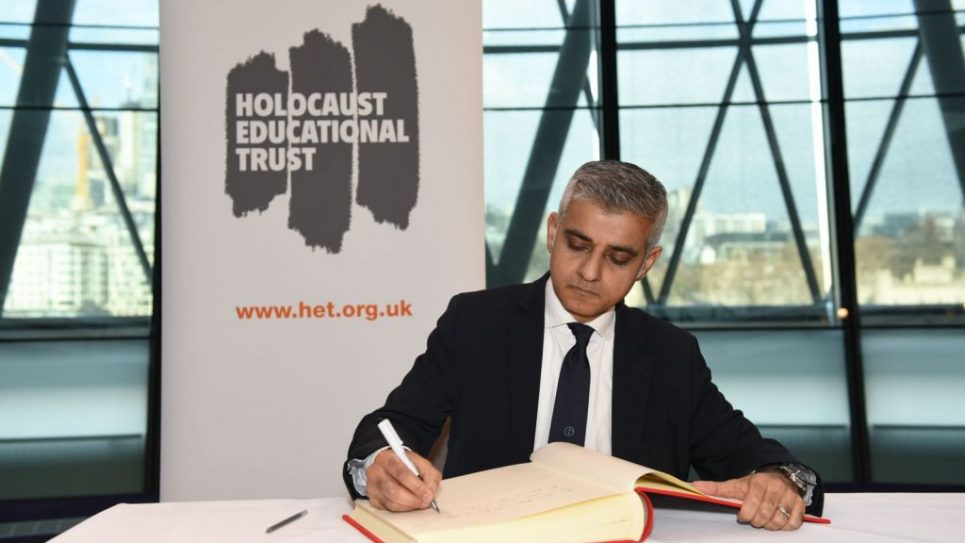 Sadiq Khan​ signs the Holocaust Educational Trust (UK)​ Book of Commitment at City Hall.