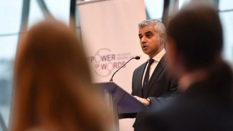 Sadiq Khan speaking at the Holocaust Memorial Day event at City Hall