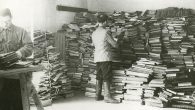 Slave laborers sort through Jewish books for the Nazis.