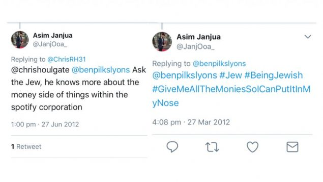 Asim Janjua's offensive Tweets which he has apologised for
