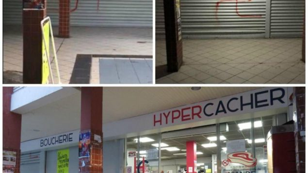 Graffiti daubed at the kosher shop.   Source: @98Memorial on Twitter