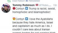 Amos's tweet showing Elad's alleged retweet of Tommy Robinson