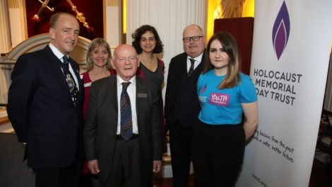 Speakers - The Lord Mayor, Laura Marks OBE, Ben Helfgott MBE, Olivia Marks-Woldman, Sir Eric Pickles and Hayley Carlyle (Lead Youth Champion)
