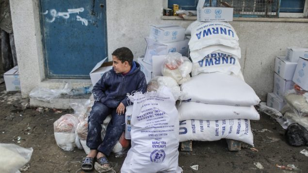Food aid to Gazaian families by UNRWA