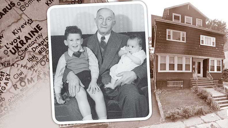 Max Adelman cradles Jonathan Lazarus and his sister, Janet, in 1945. At right, The house that he built: 208 Renner Ave., Newark, now, sadly, in foreclosure.