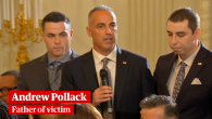 Andrew Pollack (centre) speaking in the White House during the meeting with President Trump's team
