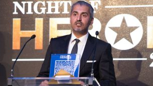 Maajid Nawaz speaking after accepting his Community Ally award at the Night of Heroes   Credit: Blake Ezra Photography