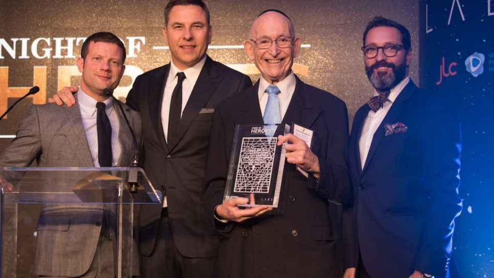 Norman Rosenbaum, the Jewish News community hero at the Night Of Heroes (second right), with Dermot O'Leary (left), David Walliams (second left) & Doug Krikler (right). Norman was honoured for his tireless work donating 11 ambulances to   - Magen David Adom  Credit: Blake Ezra Photography